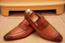 BERLUTI Men's Handmade Lustré Marron Clair En Cuir Mocassins Chaussures UK 8