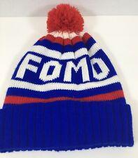 FOMO Stocking Hat Red White Blue Pom Pom Winter Unisex