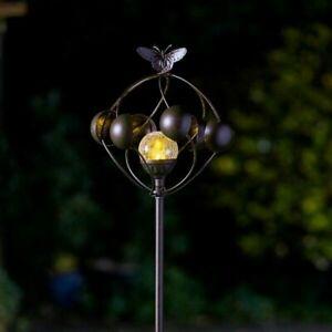 Aura Metal Garden Wind Spinner LED Colour Change Light Solar Powered Glass Globe
