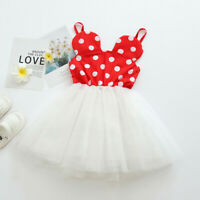 Kids Girl Minnie Mouse Princess Birthday Party Outfit Tutu Dress Red Dot Costume