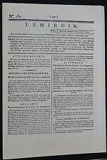 FAC-SIMILE JOURNAL LE MIROIR N°150 27/09 1796 ROYALISTE BONAPARTE ITALIE