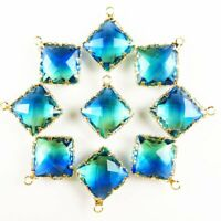 10Pcs Gold Wrapped Blue Opal Oval Pendant Bead 22x9x5mm W2BB