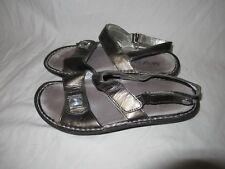 Alegria Verona VER-123A chrome patent leather ankle strap sandals 8 / 38 VGUC