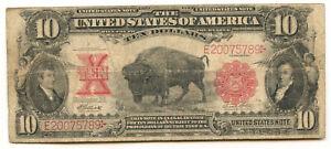 1901 $10 Ten Dollar Large Size Bison Legal Tender Red Seal