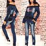 ESC 2-Teiler Damenanzug Freizeitanzug Jeanslook Hose + Shirt 34 - 38 #E164