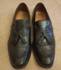 Allen Edmonds Clayton Men Black Loafers Exotic Lizard Skin Tassel Shoes Sz 10 A