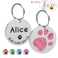 Cute Personalized Dog Tags Pet Name Phone Engraved Bling Paw Print Rhinestone