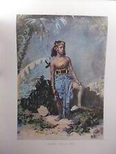 AUSTRALIE/Gravure 19°in folio couleur/Jeune fille de Samoa