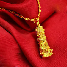 Hot Bar-type Dragon Pendant Necklace Chain Women Men 24K Real Yellow Gold Filled