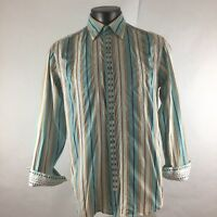 Robert Graham L Large Shirt Button Down Front Flip Cuff Long Sleeve Striped Mens