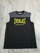 Everlast Mens Muscle Tank Top Black Crew Neck Sleeveless Made In Usa L wicking