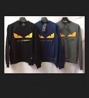 Mens Fendi Designer Black Jumper sweatshirt Top BNWT Small Medium large XL XXL