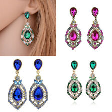 Trendy Women Colorful Crystal Rhinestone Teardrop Pendant Ear Stud Earrings Gift