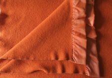 Vintage Faribo Twin 100% Wool Blanket w Satin Trim Deep Orange 58 x 78 Gorgeous!