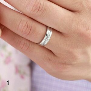 Resizable Couple 925 Sterling Silver Plated Royal Crown King Queen Noble CZ Ring