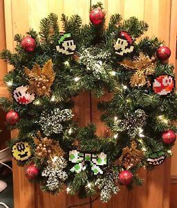 Mario Bros Perler Christmas Wreath Handmade Lights