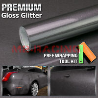 *Premium High Gloss Glitter Gray Sparkle Car Vinyl Wrap Sticker Decal Sheet Film