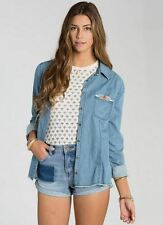 2015 NWT WOMENS BILLABONG FADE AND FLY DENIM TOP $60 M vintage chambray beads