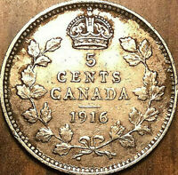 1916 CANADA SILVER 5 CENTS COIN - Excellent example!