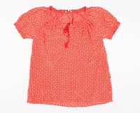 Joie Red Pink Silk Smocked Tassel Blouse Top Size S Small
