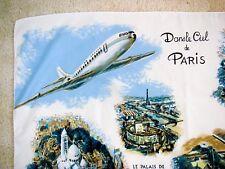 Vintage Paris France Tourist Souvenir Scarf with Air France Plane