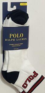 Polo Ralph Lauren Men's 3-Pair Quarter Crew Socks  White with Black & Red