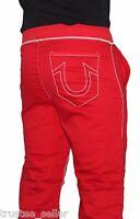 NWT True Religion Brand Men's Contrast Big T Stitch Logo Red Sweatpants Pants