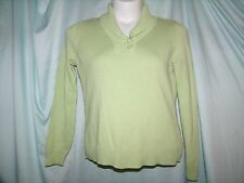 Studio Works Solid Green Long Sleeve 100% Cotton Collared Sweater Size S