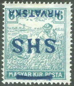 Yugoslavia SHS Croatia 1918, 6fil. Harvesters Inverted Overprint, MH