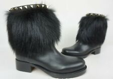 Valentino Winter Leather & Fox Fur Rockstud Black Ankle Boots Size 35