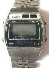 70er / 80er Jahre LCD Armbanduhr Solar Batterie Metall - defekt - Sammler