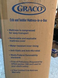 Graco Premium Foam infant Bed Mattress New in Box White with removable cover