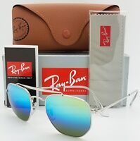 NEW Rayban Marshal sunglasses RB3648 003/I2 Silver Green Blue Mirror AUTHENTIC