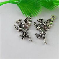 58pcs Vintage Style Silver Tone Alloy Flying Dragon Look Pendant Jewelry 51536