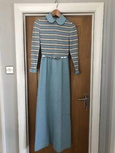 Berkertex Dress Vintage 1970s Blue Peter Pan Collar Silver Glitter Belt Size 12
