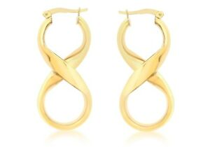 9ct Yellow Gold Medium Infinity Figure of Eight Drop Hoop Earrings        0869
