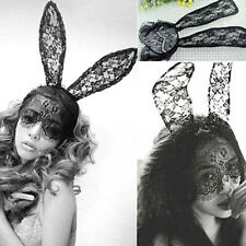Cute Lady Gaga Black Lace Bunny Ears Black Mask Headband Decor