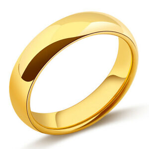 Smooth Gold Rings Band Ring for Womens Mens 18K Gold Plated Ring Jewelry Size 9