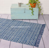 Large Hand Block Print Area Rug 3X5 Hand Loomed Reversible Floor Mat Throw Art