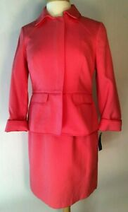 Pendleton Sleeveless Dress And Long Sleeve Jacket Suit Coral Pink Size 8P NEW