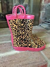 CAPELLI  Leopard & Pink NEW YORK RUBBER RAIN Galoshes BOOTS SHOES Girls SIZE 8 9