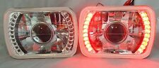 86-95 JEEP WRANGLER YJ  GLASS HEAD LIGHTS PROJECTOR RED LED HEADLIGHTS H4