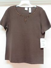 Emma James Brown Size XL  Knit Top with Beaded Neck  Retail  $39