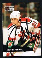 Randy McKay #422 signed autograph auto 1991-92 Pro Set Hockey Trading Card