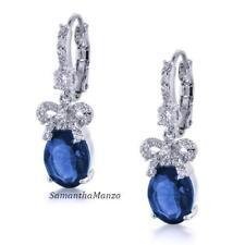 Pave Blue Sapphire Cz Cubic Zirconia Ribbon Leverback Snap Dangle Drop Earrings