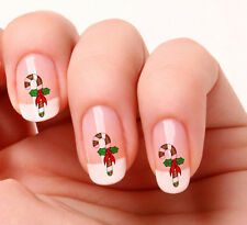 20 Nail Art Decals Transfers Stickers #495 - Christmas Candy Cane  peel & stick