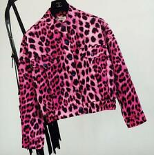 vintage Pink leopard print jacket womens stand-collar short jackat coat outwear