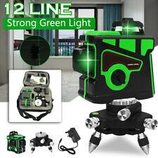 360° 3D Green 12 Line Laser Level Self Leveling Outdoor Cross Measure Tool