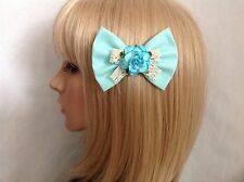 Blue rose hair bow clip rockabilly pin up girl Alice in wonderland vintage chic