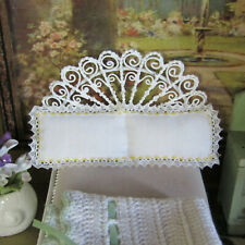 Artisan Handmade LACE DOUBLE PILLOW Artist Made Vintage Bedding Bed Linen Sheets